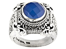 SRA720<br>Artisan Gem Collection Of Bali(Tm) 10mm Round Blue Chalcedony Sterling Silver Solitaire Ri