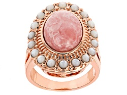 COP540<br>Timna Jewelry Collection(Tm) Oval Rhodochrosite With White Mother-of-pearl Copper Ring