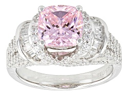 BJO803<br>Bella Luce (R) 5.40ctw Pink & White Diamond Simulant Rhodium Over Sterling Silver Ring (3.