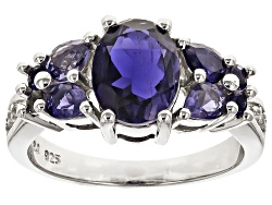 NGH373<br>2.26ctw Oval, Pear Shape And Round Iolite With .03ctw Round White Zircon Sterling Silver R