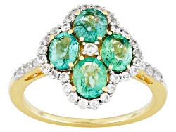 MKA017<br>1.29ctw Oval Zambian Emerald And .32ctw Round White Zircon 10k Yellow Gold Ring