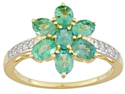 MKA018<br>1.20ctw Oval Zambian Emerald And .07ctw Round White Zircon 10k Yellow Gold Ring
