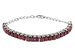 NGH498<br>20.70ctw Cushion India Ruby Sterling Silver Bracelet
