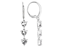 DJH460<br>.45ctw Heart Shape And .02ctw Round White Topaz Sterling Silver Dangle Earrings