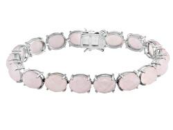DJH500<br>50.15ctw Oval Rose Quartz Sterling Silver Bracelet