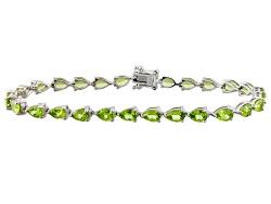 JCH294<br>11.59ctw Pear Shape Manchurian Peridot(Tm) Sterling Silver Tennis Bracelet