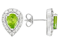 JCH307<br>2.23ctw Pear Shape Manchurian Peridot(Tm) With 1.20ctw Round White Zircon Silver Stud Earr