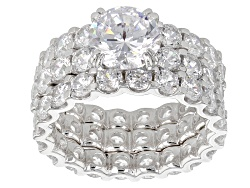 BMC913<br>Bella Luce (R) 13.21ctw Rhodium Over Sterling Silver Ring With Bands (8.42ctw Dew)