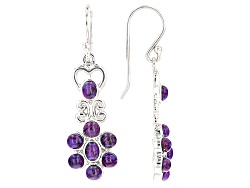 BCH548<br>Oval And Round Purple Turquoise Sterling Silver Dangle Earrings