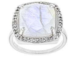 SMH217<br>12mm Square Cushion Rainbow Moonstone With .42ctw Round White Topaz Sterling Silver Ring