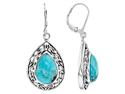 RRH164<br>13x9mm Pear Shape Cabochon Turquoise Sterling Silver Earrings