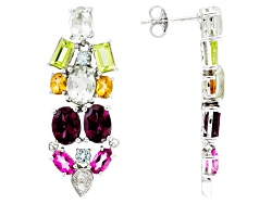 RRH307<br>7.97ctw Multi Gemstone Sterling Silver Dangle Earrings