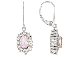RRH374<br>1.70ctw Oval Kunzite With 1.05ctw Baguette And Round White Topaz Sterling Silver Earrings