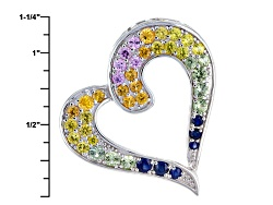 RNH067<br>2.24ctw Round Pink, Orange, Blue, Yellow And Green Sapphire Sterling Silver Heart Pendant