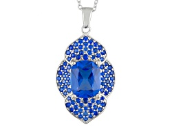 YAH332<br>4.28ctw Rectangular Cushion And Round Lab Created Blue Spinel Sterling Silver Pendant With