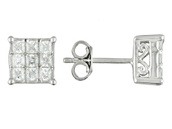BJQ665<br>Bella Luce (R) 1.45ctw Diamond Simulant Rhodium Over Sterling Silver Earrings (1.08ctw Dew