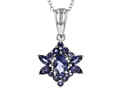 JJH045<br>1.25ctw Oval, Marquise, And Round Iolite Sterling Silver Pendant With Chain