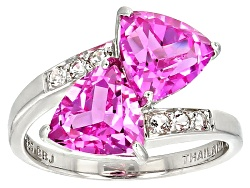 RNH586<br>3.82ctw Trillion Lab Created Pink Sapphire With .14ctw Round White Topaz Sterling Silver B