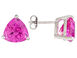 RNH587<br>8.07ctw Trillion Lab Created Pink Sapphire Sterling Solitaire Silver Stud Earrings