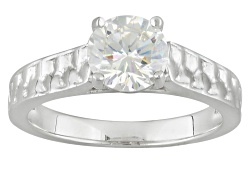 RNH595<br>1.78ct Round Lab Created Strontium Titanate Sterling Silver Solitaire Ring