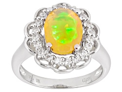 JJH198<br>.75ct Oval Ethiopian Opal With .38ctw Round White Zircon Sterling Silver Ring
