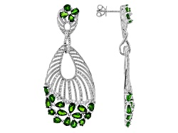 DOCX523<br>6.90ctw Pear Shape And Oval Russian Chrome Diopside With 2.10ctw Round White Zircon Silve