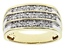 DOCN220<br>1.00ctw Round White Diamond 10k Yellow Gold Gents Ring