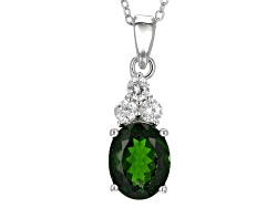 JJH486<br>2.70ct Oval Russian Chrome Diopside With .51ctw Round White Zircon Silver Pendant With Cha