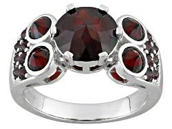 JJH494<br>4.83ctw Round Vermelho Garnet(Tm) Sterling Silver Ring
