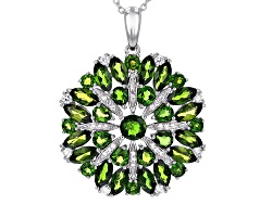 Chrome diopside necklaces shop online jtv 600ctw mixed shape russian chrome diopside with 61ctw round white zircon silver pendant with aloadofball Images